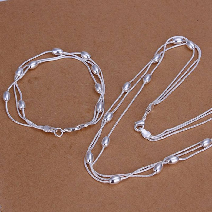 SS140 Silver 3Chain Beads Bracelet Necklace Jewelry Sets