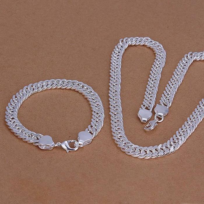 SS141 Silver 10MM Chain Bracelet Necklace Jewelry Sets
