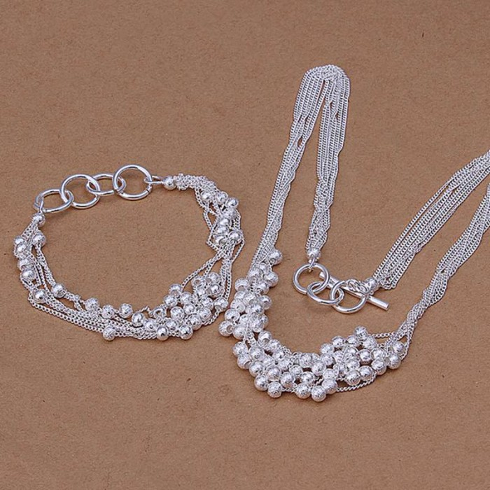 SS142 Silver Frosted Beads Chain Bracelet Necklace Jewelry Sets