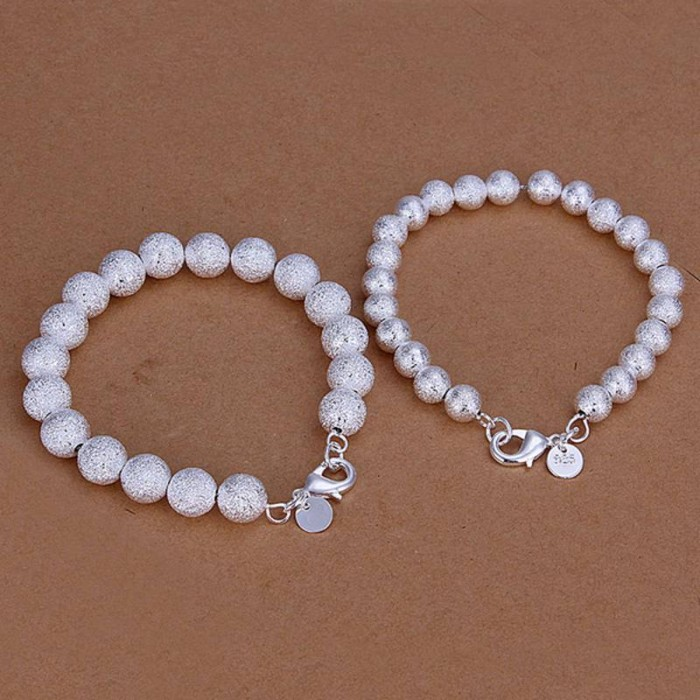 SS143 Silver 8MM 10MM Frosted Bead 2 Bracelet Jewelry Sets