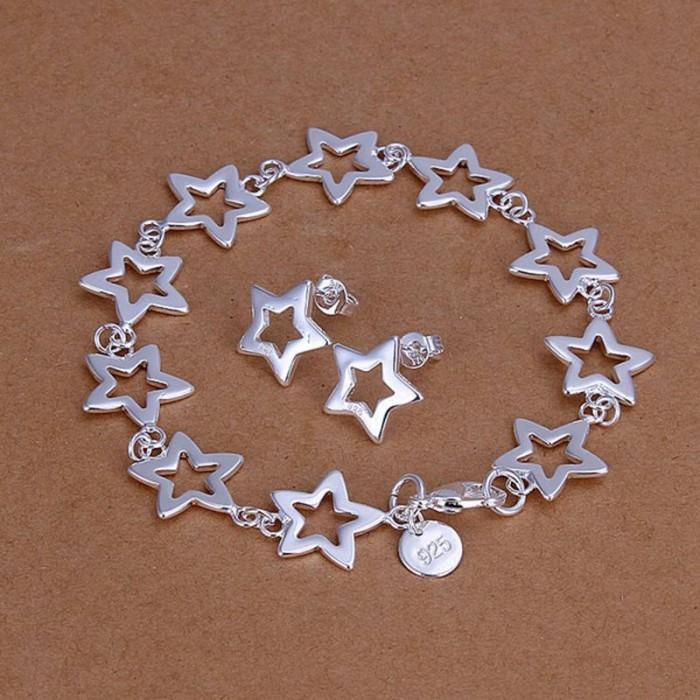 SS146 Silver Star Bracelet Earrings Jewelry Sets