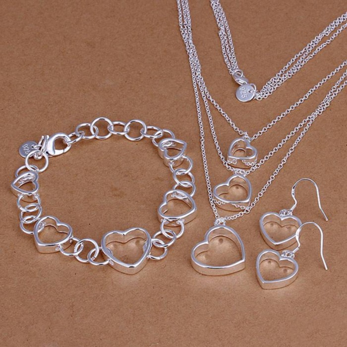 SS149 Silver Heart Bracelet Earrings Necklace Jewelry Sets