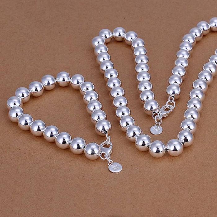 SS151 Silver 10MM Beads Bracelet Necklace Jewelry Sets