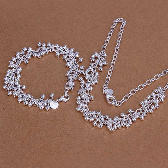 SS153 Silver Bright Grape Bracelet Necklace Jewelry Sets