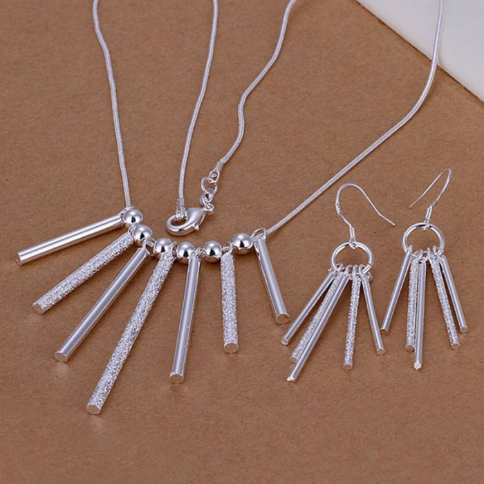 SS159 Silver 7 Bar Earrings Necklace Jewelry Sets