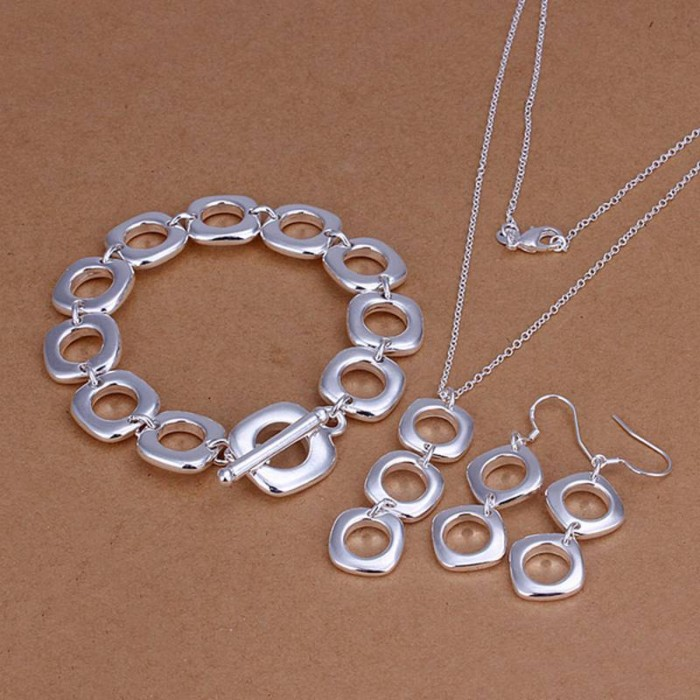 SS163 Silver Square Bracelet Earrings Necklace Jewelry Sets