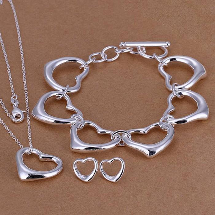 SS167 Silver Heart Bracelet Earrings Necklace Jewelry Sets