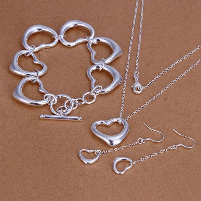 SS168 Silver Heart Bracelet Earrings Necklace Jewelry Sets