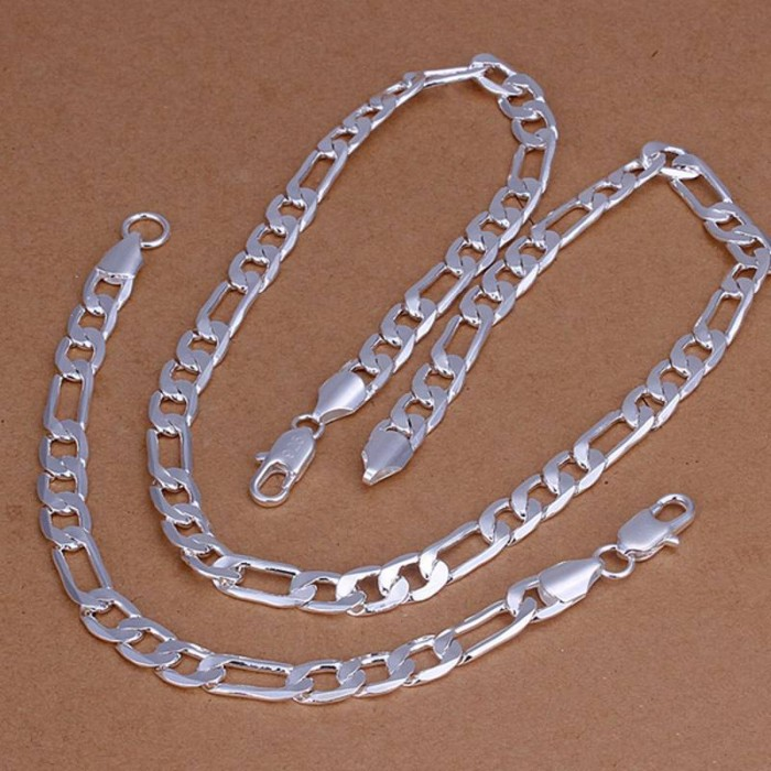 SS169 Silver 8MM Chain Bracelet Necklace Men Jewelry Sets