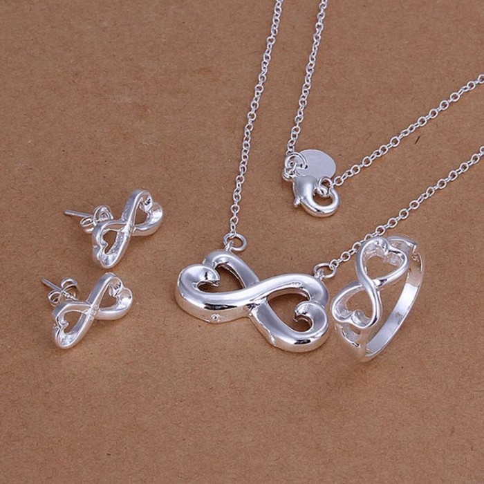 """SS171 Silver """"8"""" Earrings Rings Necklace Jewelry Sets"""