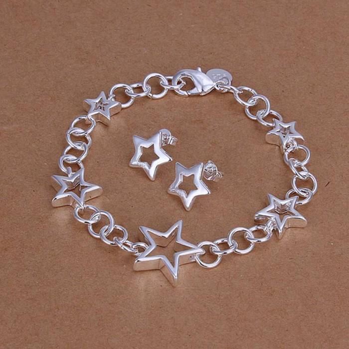 SS176 Silver Star Bracelet Earrings Jewelry Sets