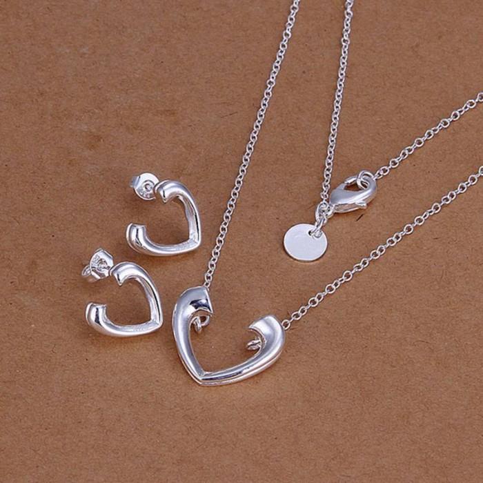 SS177 Silver Open Heart Earrings Necklace Jewelry Sets
