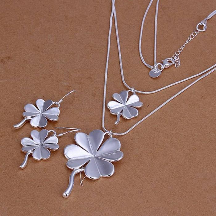 SS184 Silver Flower Earrings Necklace Jewelry Sets