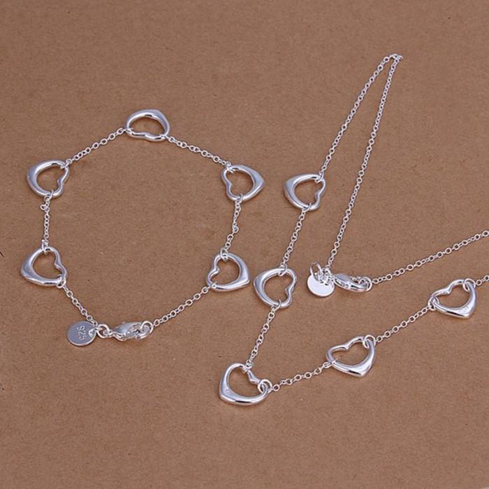 SS186 Silver Heart Bracelet Necklace Jewelry Sets