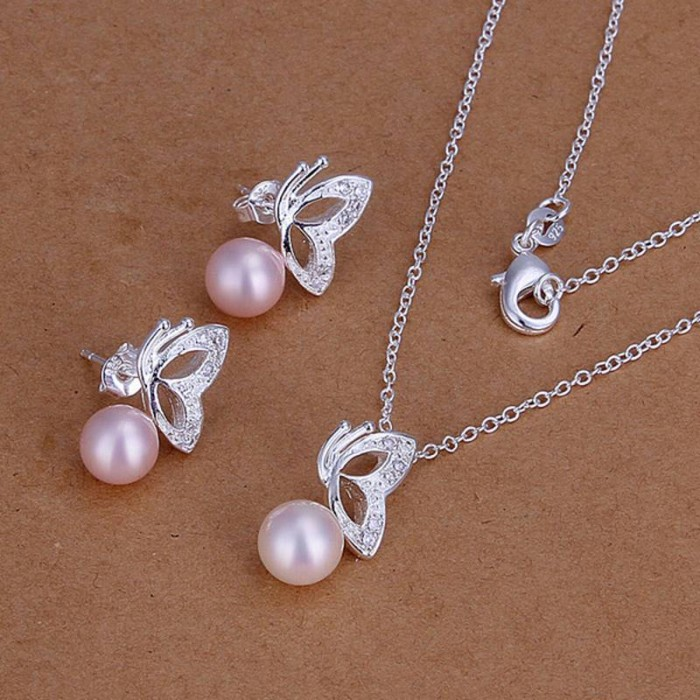 SS197 Silver Crystal Butterfly Earrings Necklace Pink Pearl Jewelry Sets