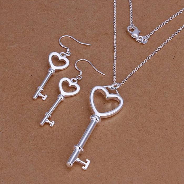 SS199 Silver Key Earrings Necklace Jewelry Sets