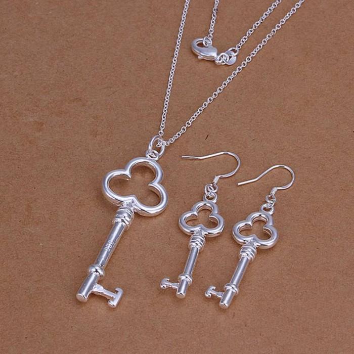 SS200 Silver Key Earrings Necklace Jewelry Sets