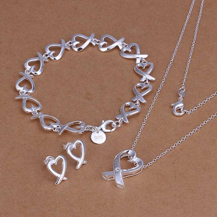 SS203 Silver Kelp Bracelet Earrings Necklace Jewelry Sets