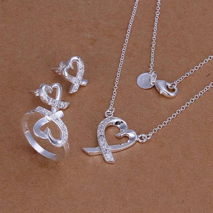 SS204 Silver Crystal Kelp Earrings Rings Necklace Jewelry Sets