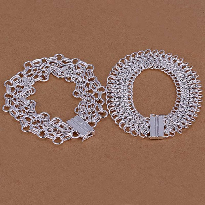 SS209 Silver Circle Link 2 Bracelet Jewelry Sets