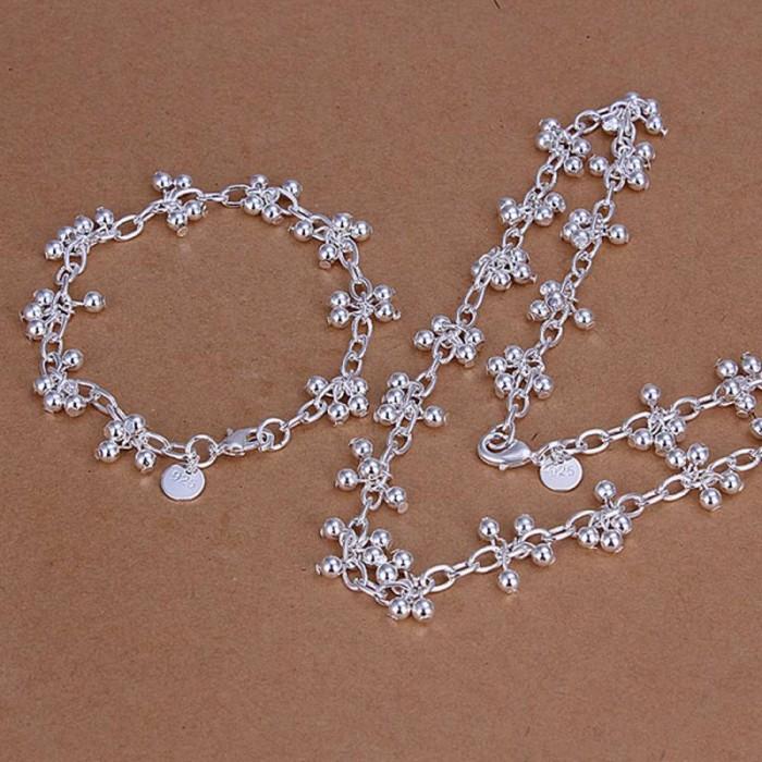 SS212 Silver Bright Grape Bracelet Necklace Jewelry Sets