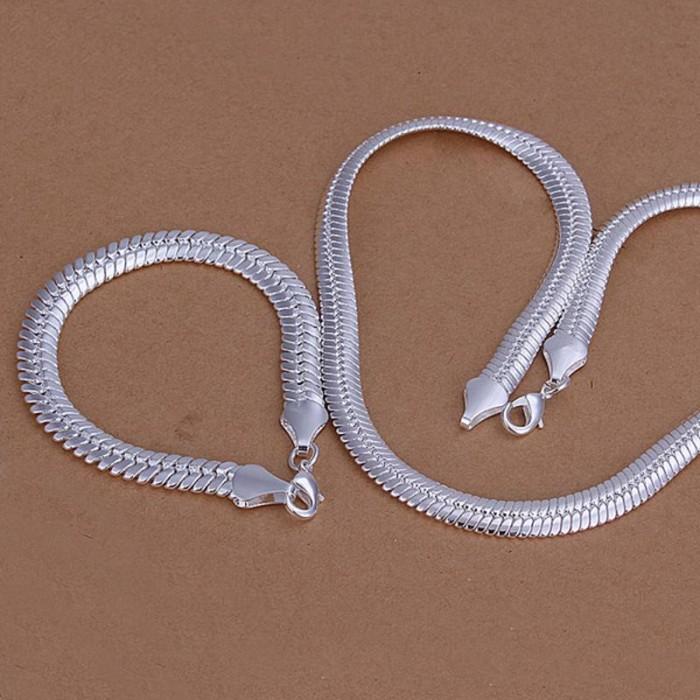 SS214 Silver 10MM Chain Bracelet Necklace Men Jewelry Sets