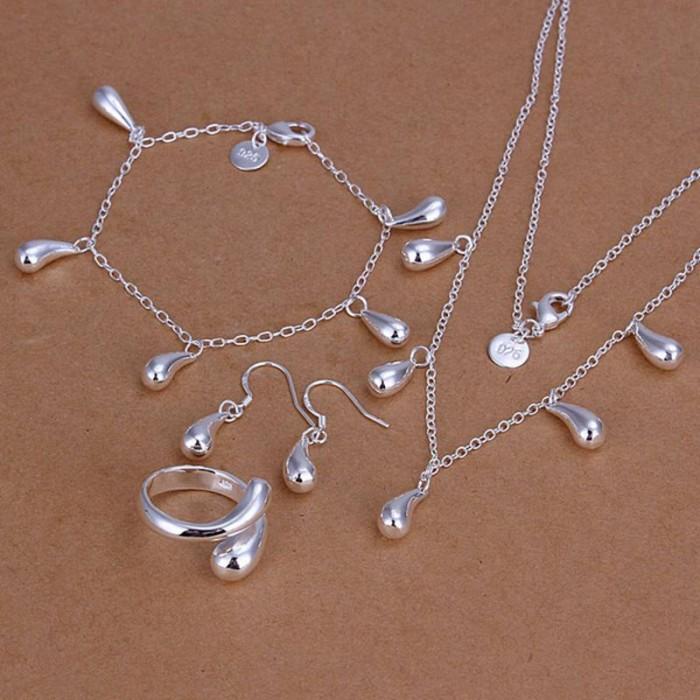 SS217 Silver Waterdrop Bracelet Earrings Rings Necklace Jewelry Sets