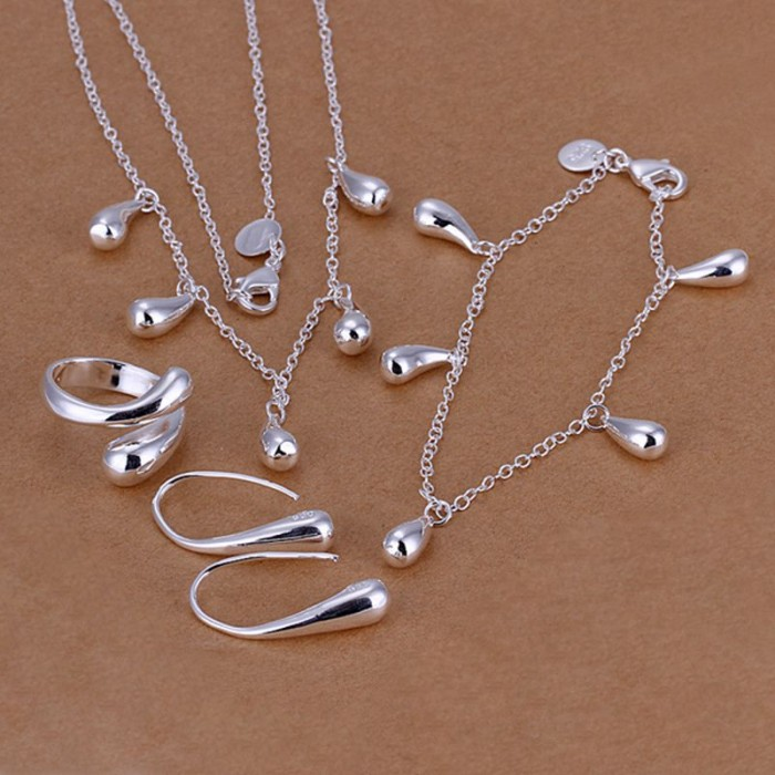 SS218 Silver Waterdrop Bracelet Earrings Rings Necklace Jewelry Sets