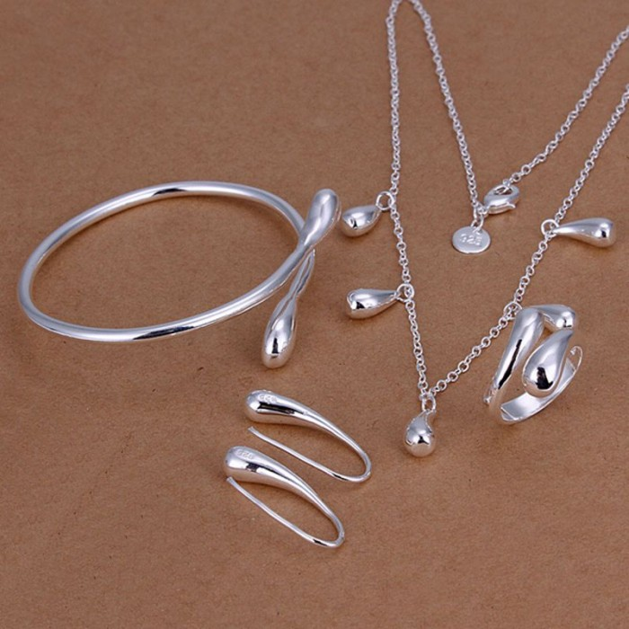 SS219 Silver Waterdrop Bracelet Earrings Rings Necklace Jewelry Sets