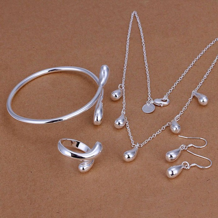 SS220 Silver Waterdrop Bracelet Earrings Rings Necklace Jewelry Sets