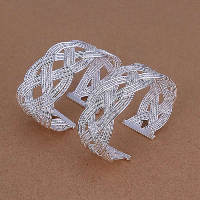 SS231 Silver Weave Bangle 2 Bracelet Jewelry Sets
