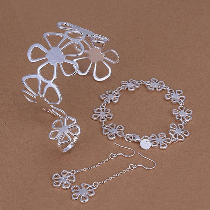 SS235 Silver Flower Bracelet Earrings Rings Necklace Jewelry Sets