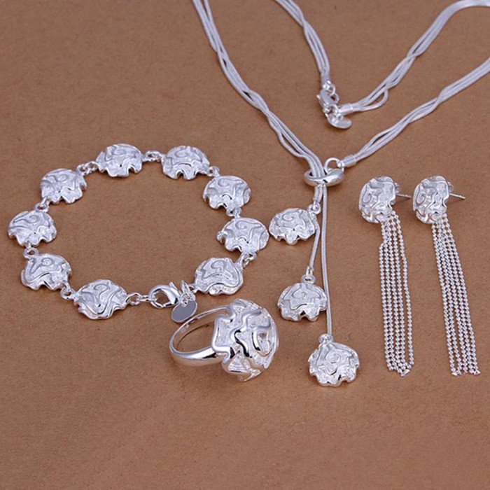 SS241 Silver Rose Bracelet Earrings Rings Necklace Jewelry Sets