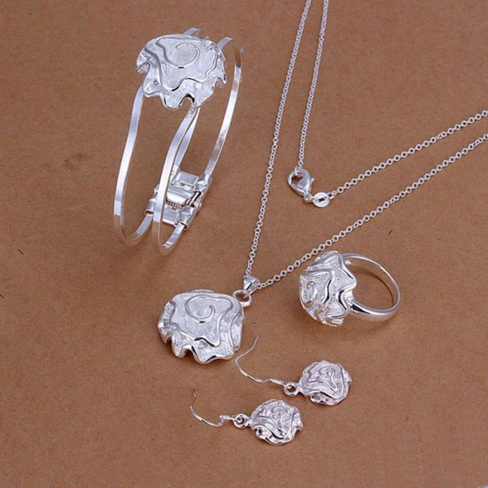 SS243 Silver Rose Bracelet Earrings Rings Necklace Jewelry Sets