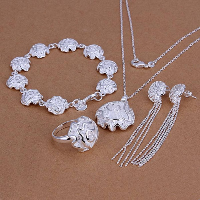 SS244 Silver Rose Bracelet Earrings Rings Necklace Jewelry Sets