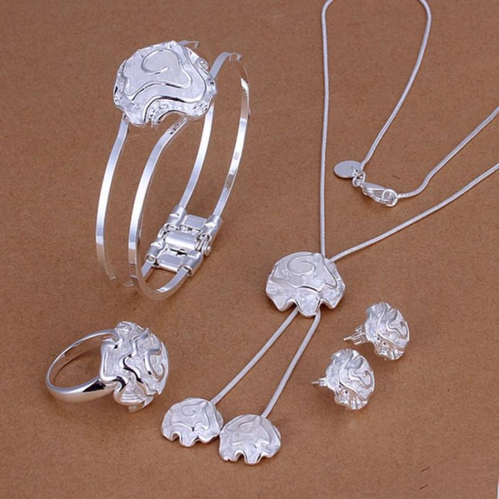 SS245 Silver Rose Bracelet Earrings Rings Necklace Jewelry Sets
