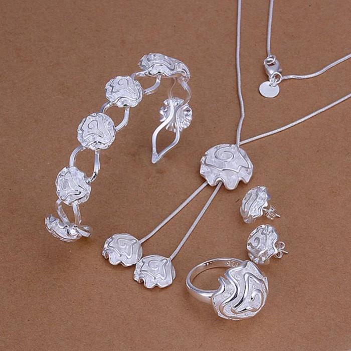 SS246 Silver Rose Bracelet Earrings Rings Necklace Jewelry Sets