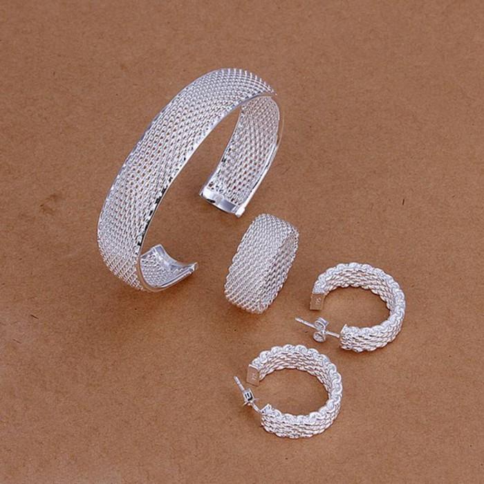 SS249 Silver Mesh Bracelet Earrings Rings Jewelry Sets