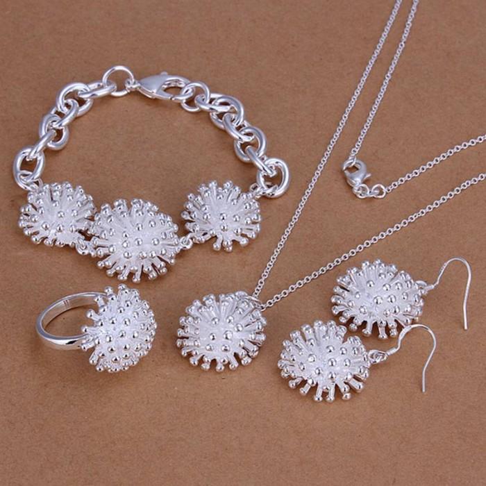 SS250 Silver Firework Bracelet Earrings Rings Necklace Jewelry Sets