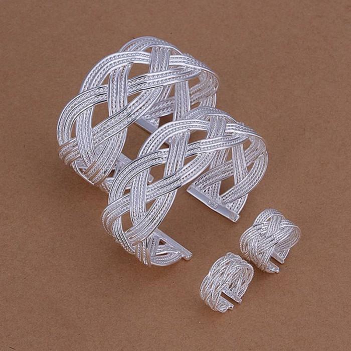 SS258 Silver Weave Cuff 2 Bracelet 2 Rings Jewelry Sets