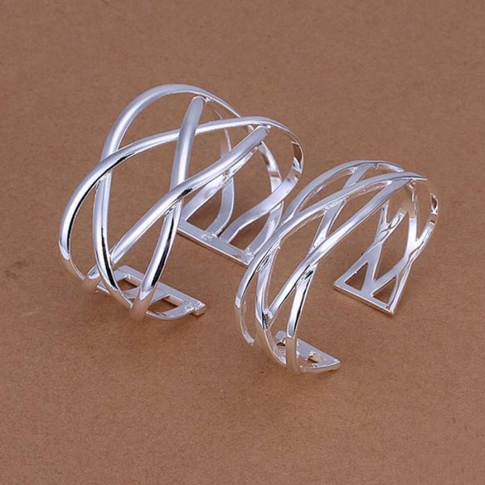 SS259 Silver Cross 2 Cuff Bracelet Necklace Jewelry Sets