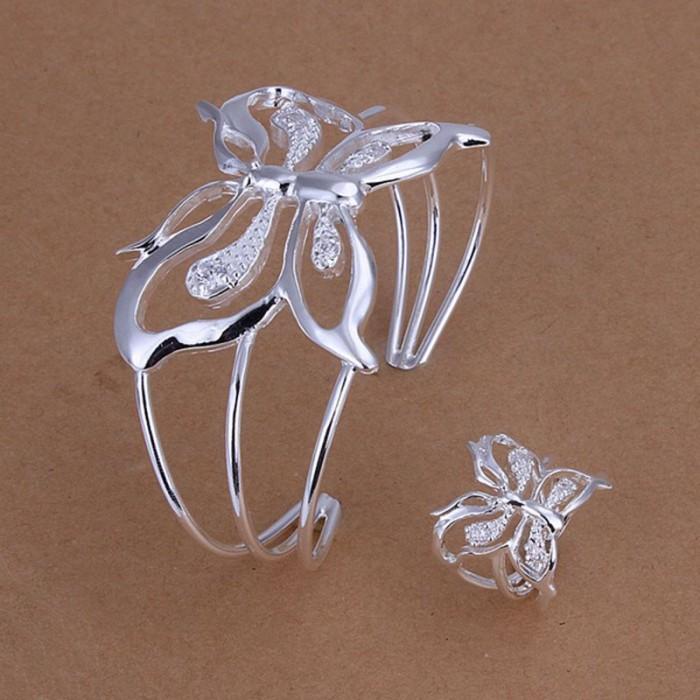 SS260 Silver Crystal Butterfly Bracelet Rings Jewelry Sets