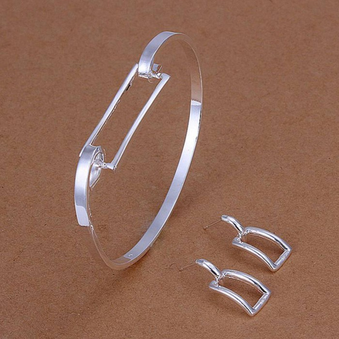 SS261 Silver Rectangle Bracelet Earrings Jewelry Sets