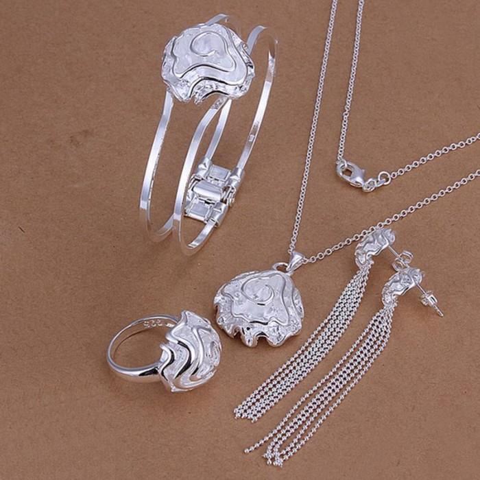 SS269 Silver Rose Bracelet Earrings Rings Necklace Jewelry Sets