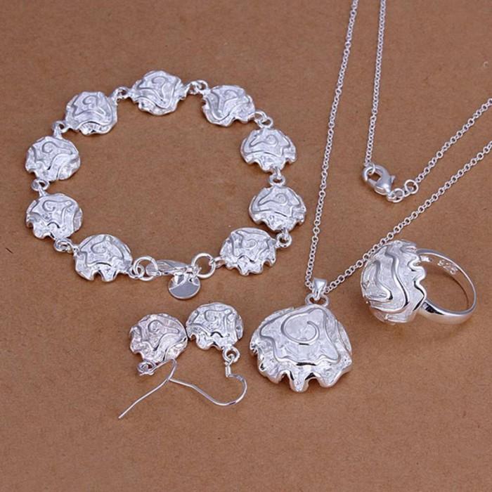 SS270 Silver Rose Bracelet Earrings Rings Necklace Jewelry Sets