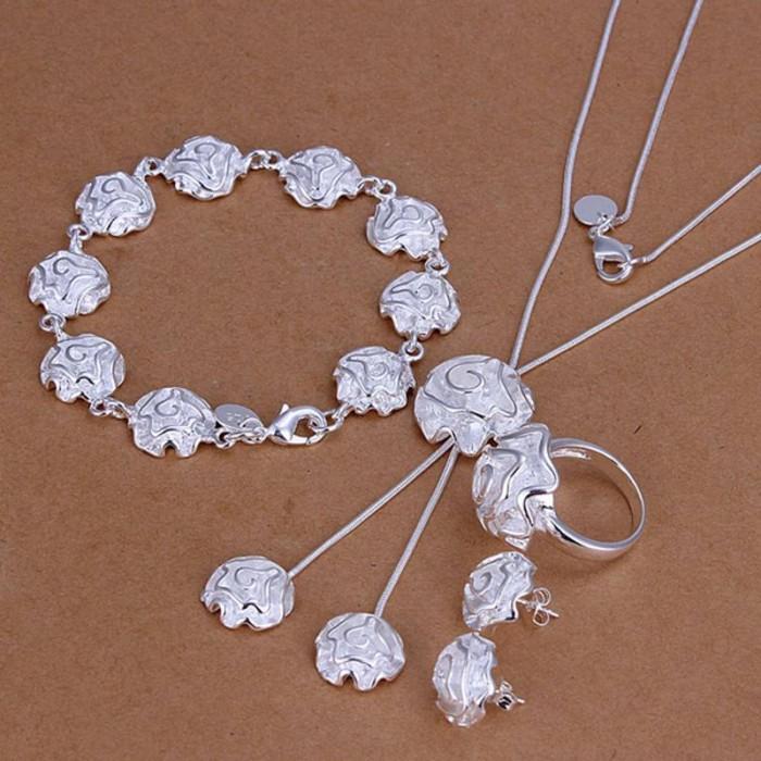 SS271 Silver Rose Bracelet Earrings Rings Necklace Jewelry Sets