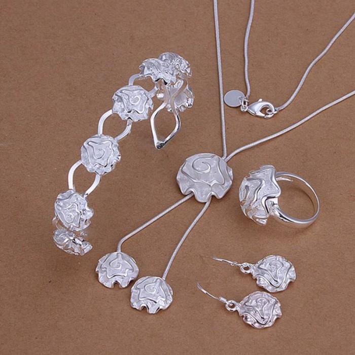 SS272 Silver Rose Bracelet Earrings Rings Necklace Jewelry Sets