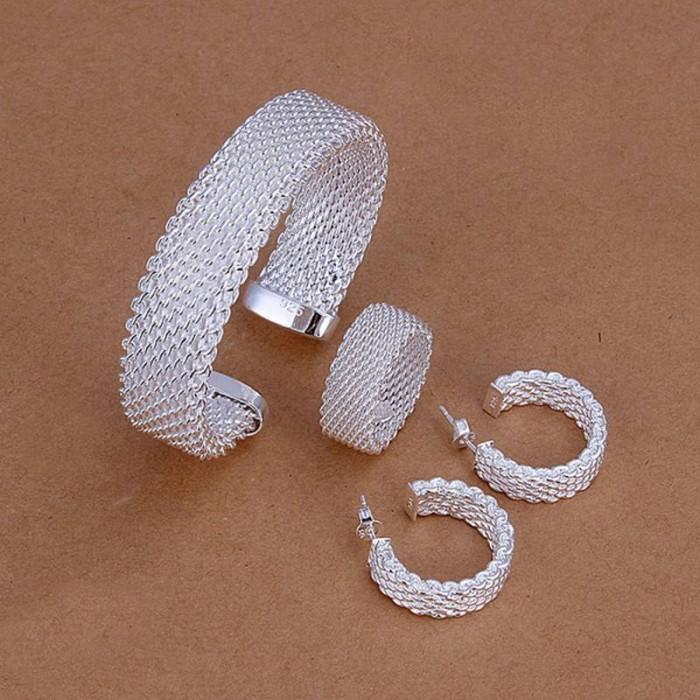 SS275 Silver Mesh Bracelet Earrings Rings Jewelry Sets