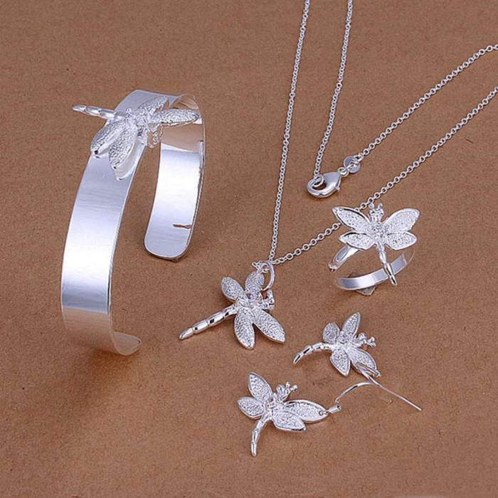 SS276 Silver Crystal Dragonfly Bracelet Earrings Rings Necklace Jewelry Sets