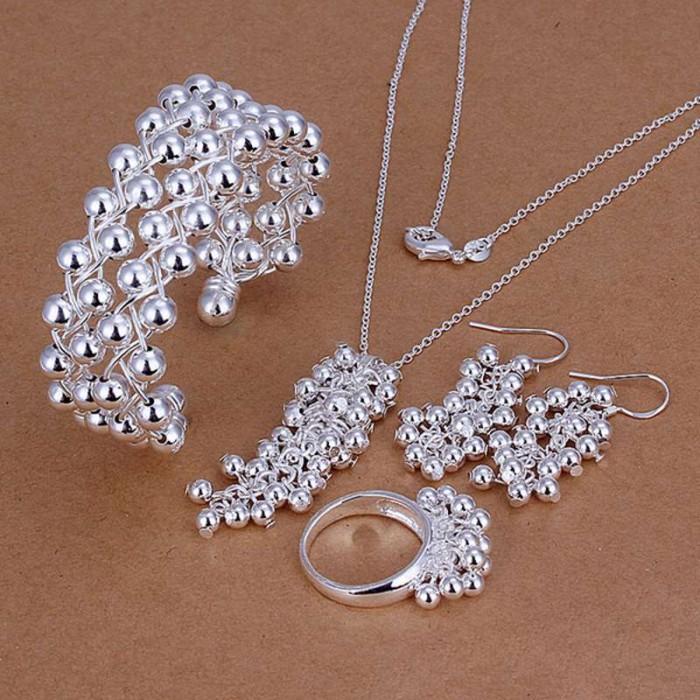 SS277 Silver Bright Grape Bracelet Earrings Rings Necklace Jewelry Sets